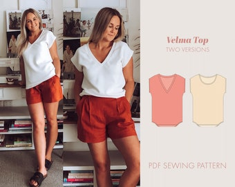 Knit top sewing pattern PDF | womens sewing patterns | v neck | work wear pattern | t shirt pattern | digital pattern | sewing pattern women