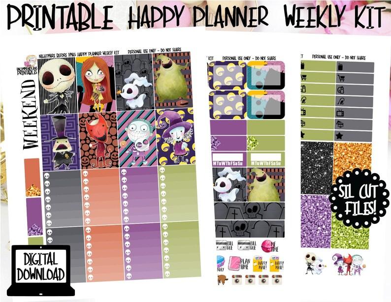 Kawaii Nightmare Before Christmas Printable Weekly Kit for image 0