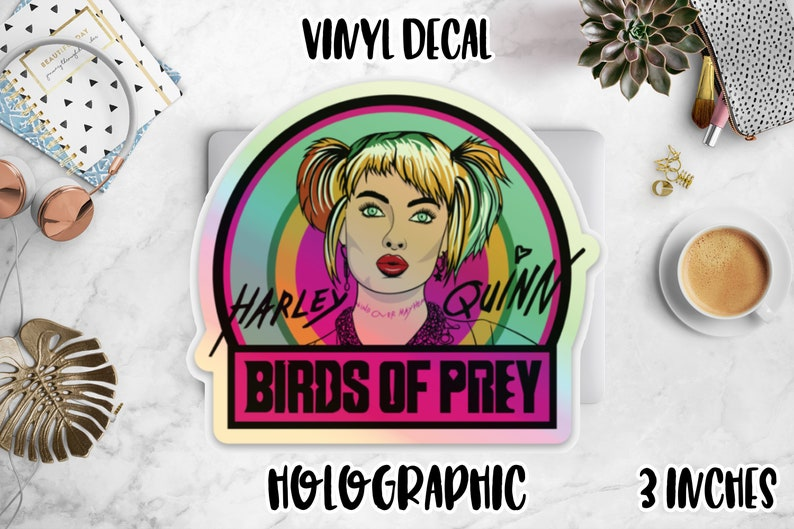 Harley Quinn Holographic Vinyl Decal Birds of Prey Movie Holo image 0