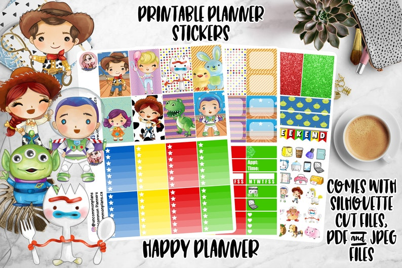 Kawaii Toy Story Printable Planner Stickers Weekly Kit Happy image 0