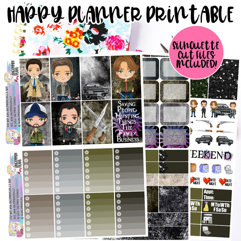 Kawaii Supernatural Printable Planner Stickers for Happy image 0