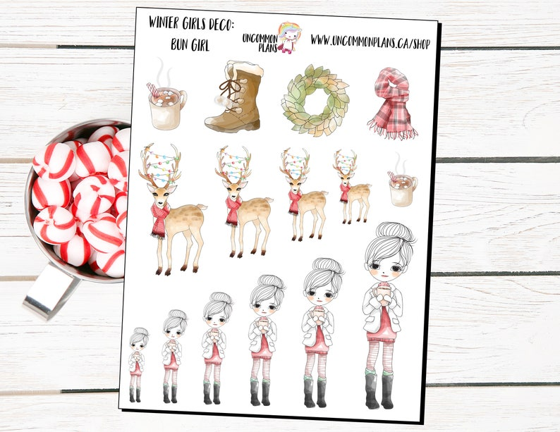 Winter Planner Girls Deco Planner Stickers Winter Deer image 0