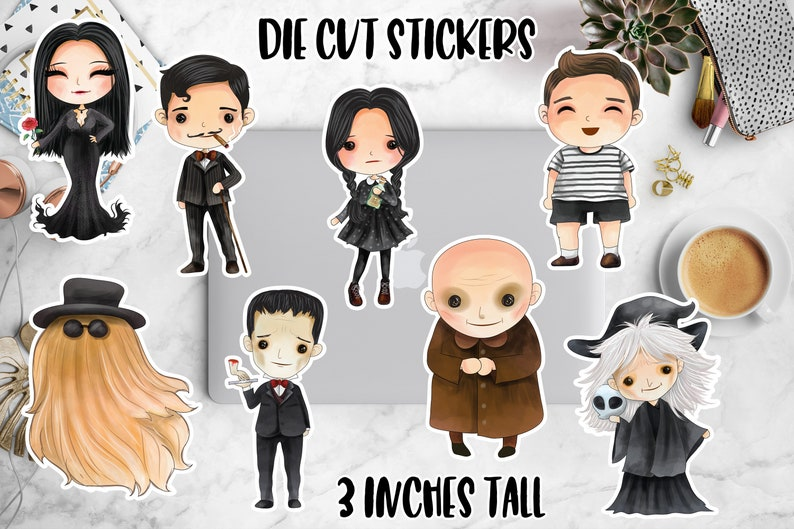 The Addams Family Die Cut Planner Stickers / Kawaii Stickers / image 0