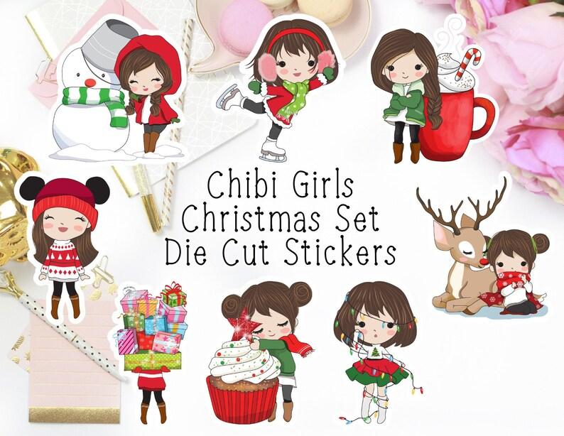 Chibi Girls Christmas Die Cut Stickers Chibi Girls Winter Die image 0