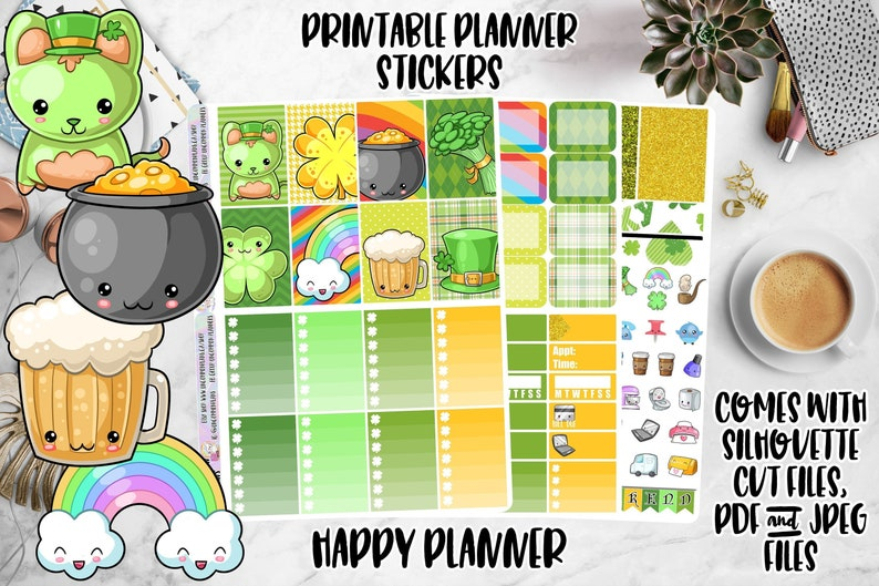 Kawaii St Patrick's Day Printable Planner Stickers Weekly image 0