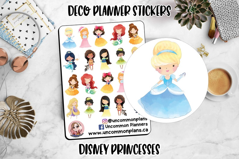 Chibi Disney Princesses Deco Planner Stickers Kawaii Disney image 0