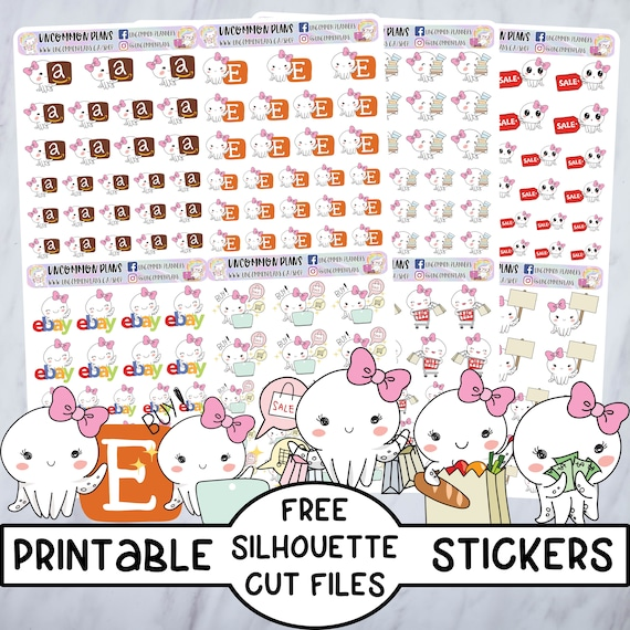 picture regarding Free Printable Functional Planner Stickers called Browsing Doodle Octopus Simple Printable Planner Stickers w/ No cost Silhouette Lower Information for Any Planner, Kawaii Chibi, Social Media