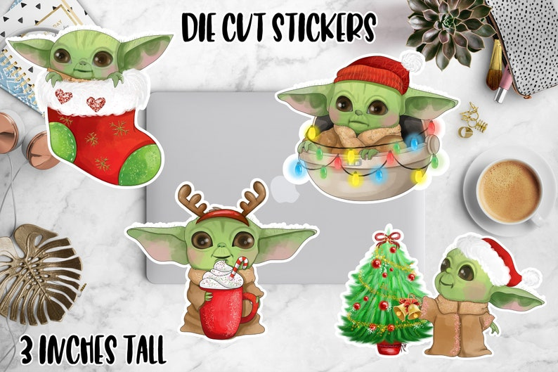 Christmas Baby Yoda Die Cut Planner Stickers Holiday Star image 0