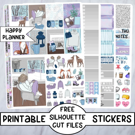 photograph relating to Free Printable Happy Planner Stickers identified as Comfortable Wintertime Printable Planner Stickers Content Planner Stickers Weekly Package w/ Absolutely free Silhouette Reduce Documents, Xmas Snow Planner Lady Stickers
