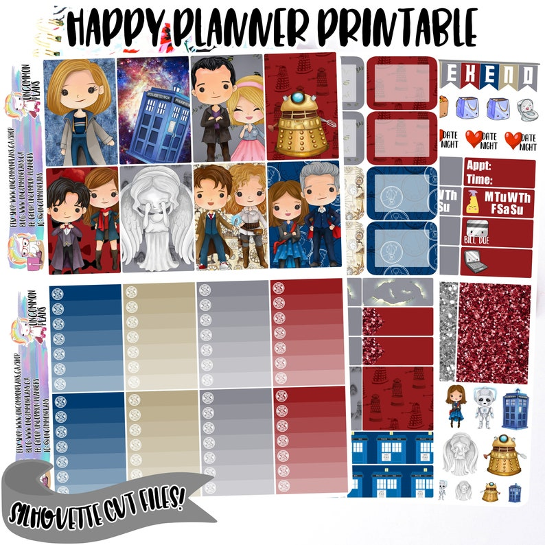 Kawaii Dr Who Printable Happy Planner Stickers Weekly Kit image 0