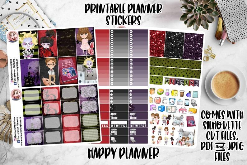 Kawaii Beetlejuice Printable Weekly Kit Happy Planner Stickers image 0