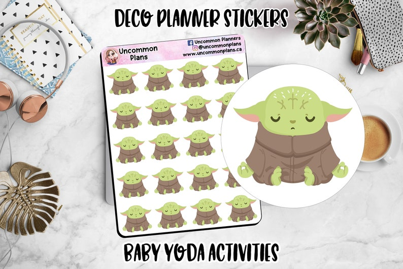 Kawaii Alien Space Baby Functional Deco Meditation Stickers image 0