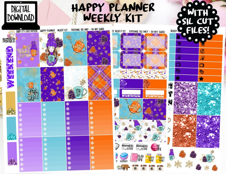 printable sticker planner PRINTABLE silhouette cut file printable planner stickers, GLITTER HEADERS Pack A