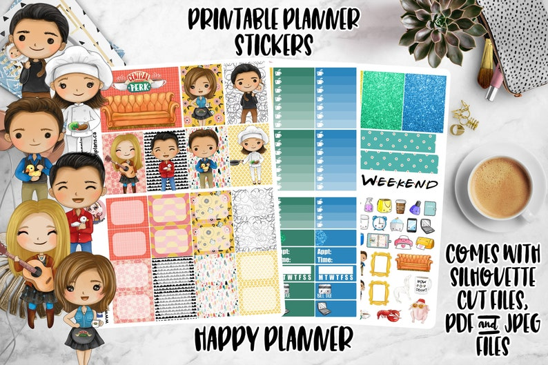 Kawaii Friends Printable Planner Stickers Weekly Kit Happy image 0