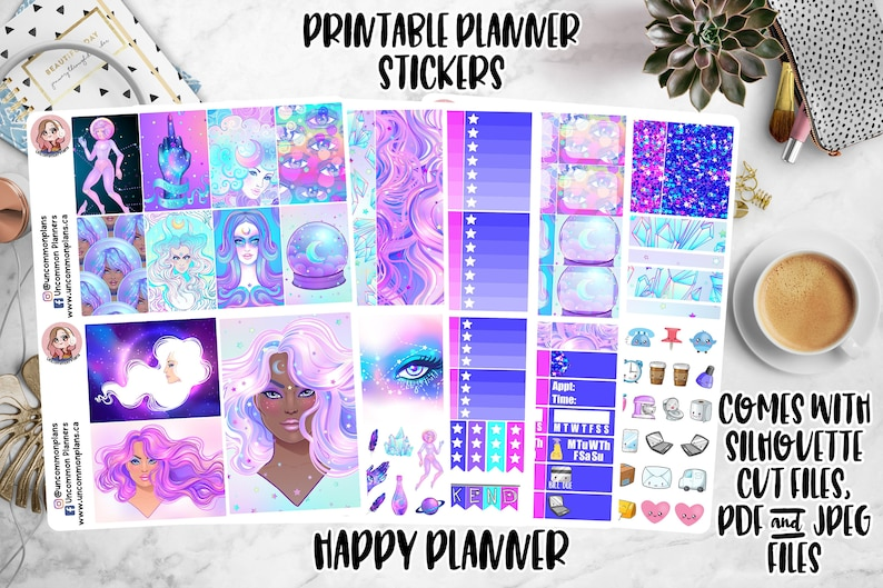 Galaxy Witch Printable Planner Stickers Weekly Happy Planner image 0