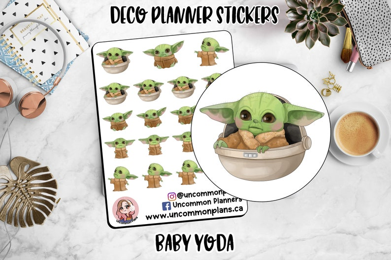 Space Baby Deco Stickers Sheet Star Wars The Child Alien image 0