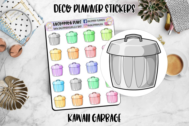 Kawaii Garbage Day Deco Planner Stickers / Functional Planner image 0