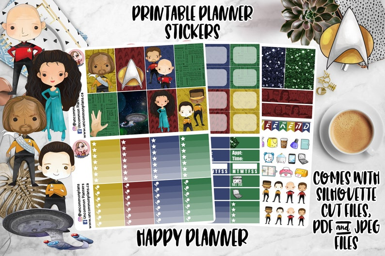 Kawaii Star Trek Printable Planner Stickers for Classic Happy image 0