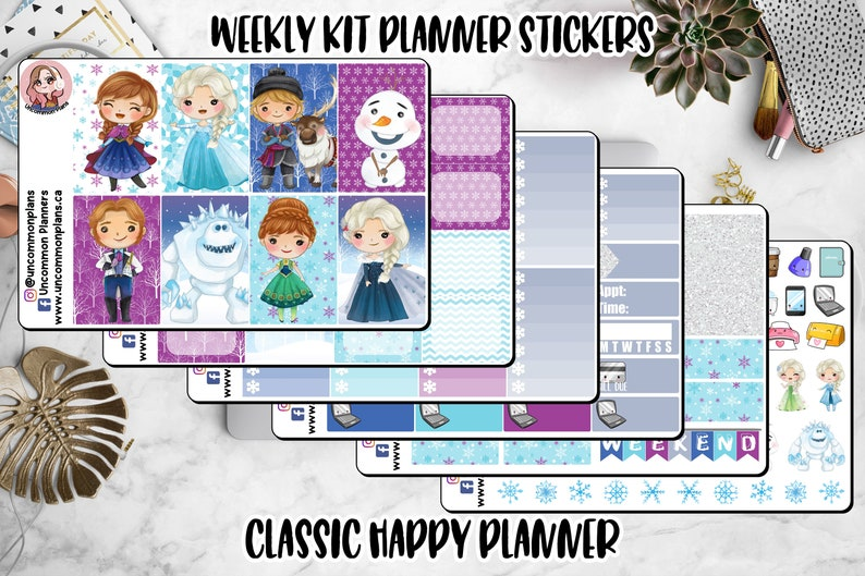 Kawaii Frozen Planner Stickers Weekly kit Happy Planner image 0