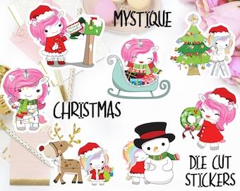 Mystique Winter Die Cut Stickers, Christmas Die Cut Stickers, Winter Planner Stickers, Christmas Planner Stickers, Kawaii Unicorn Die Cuts