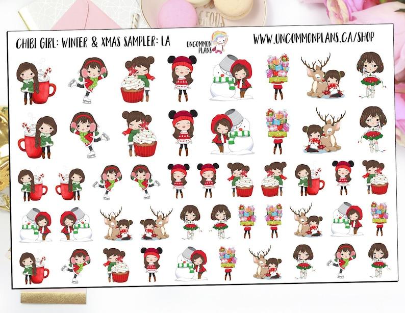 Chibi Girls Winter Deco Planner Stickers Christmas Planner image 0