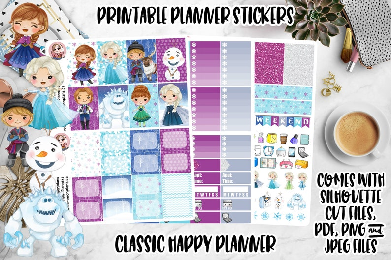 Kawaii Frozen Printable Planner Stickers Weekly Kit Happy image 0