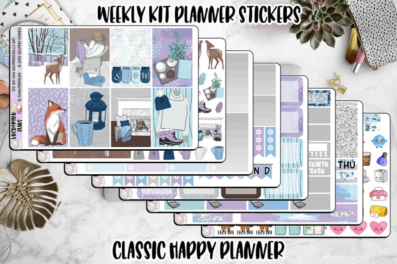 Cozy Winter Girl Happy Planner Weekly Kit Planner Stickers image 0