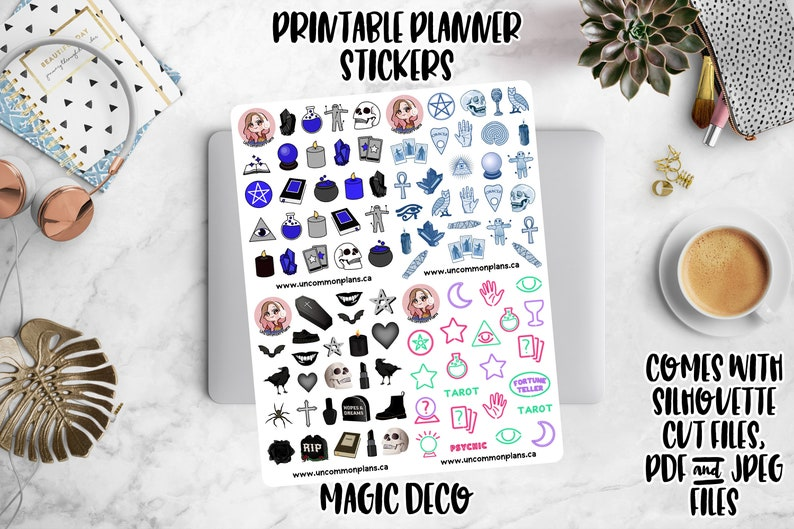 Magic Deco Printable Planner Stickers w/ Silhouette Cut Files image 0