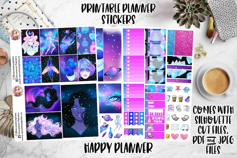 Cosmic Witch Printable Planner Stickers Weekly Happy Planner image 0