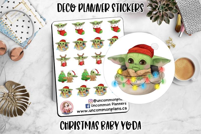 Christmas Baby Yoda Stickers Sheet Disney Decorative Planner image 0