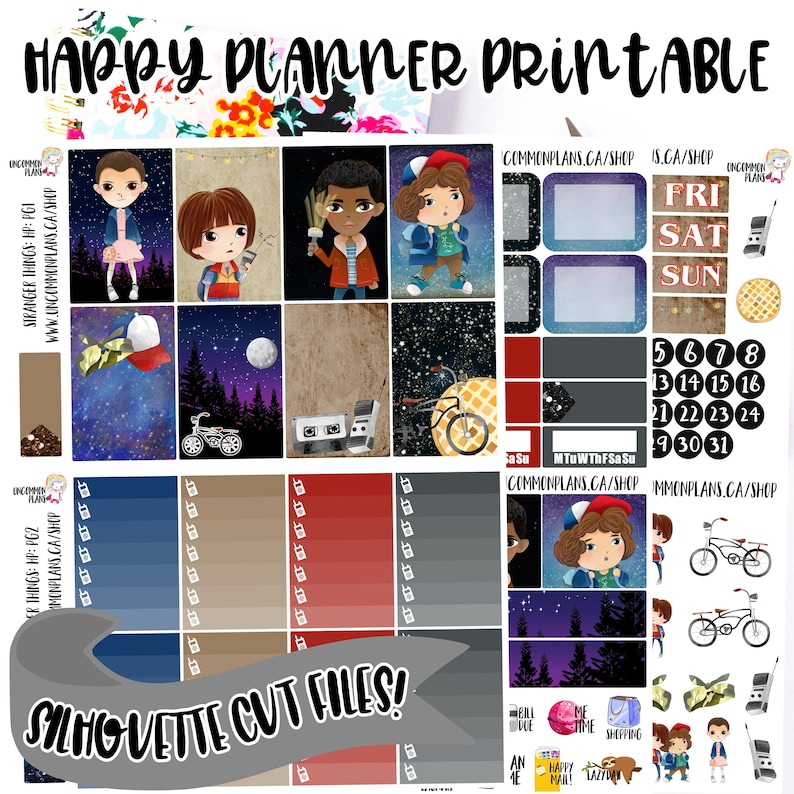 Stranger Things Printable Planner Stickers Weekly Kit for image 0