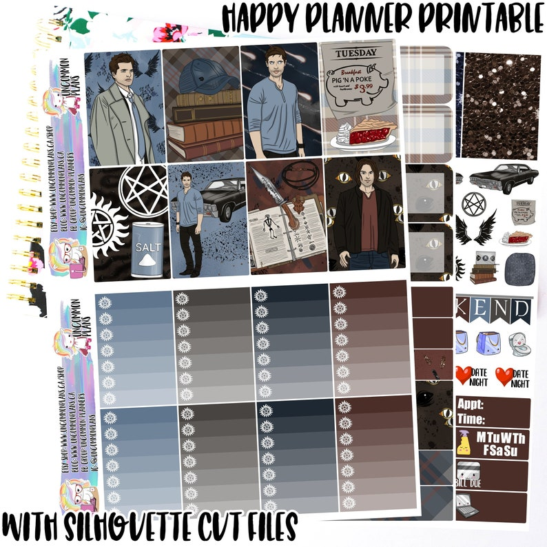 Supernatural Printable Planner Stickers Weekly Kit Happy image 0