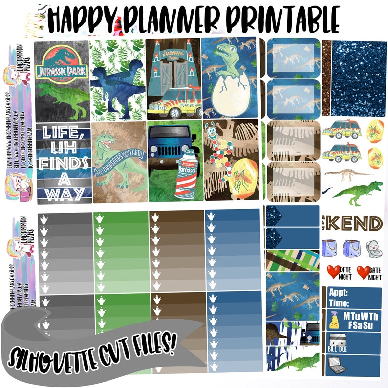 Jurassic Park Printable Planner Stickers Weekly Kit w/ image 0