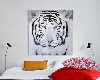 White tiger - black & white original oil painting 31,5'' x 31,5''