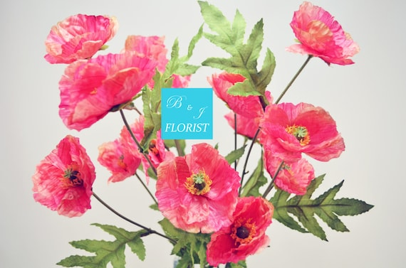 Artificial poppy fall bush fake silk flowers stems pink etsy image 0 mightylinksfo