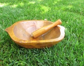 Handmade Rectangular Wooden Mortar and Pestle, Old Big Mortar for Grinding Spices, Seeds, Garlic, Rustic Wooden Mortar of the last Century
