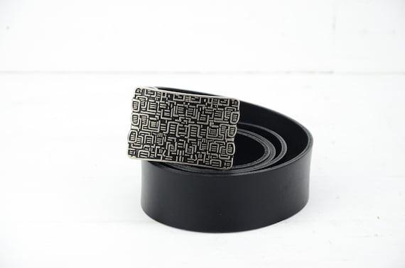 """Leather belt - Black leather belt """"ART""""- Black Bel"""