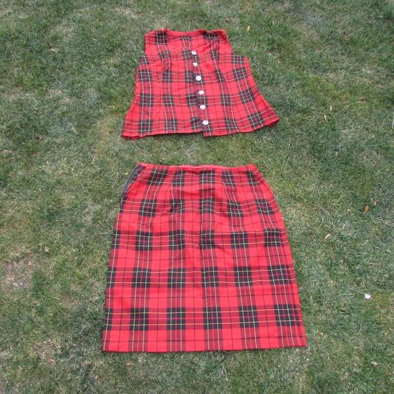 Set plaid skirt and shirt - Vintage plaid set - Re