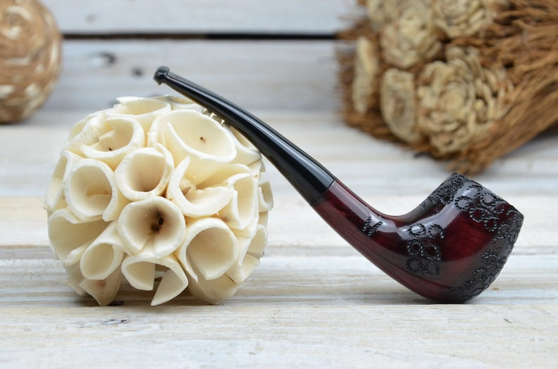 burgundy pipe Mahogany pipe for everyday use Universal pipe for smoking tobacco Classical  pipe smoking Wooden pyrographic pipe