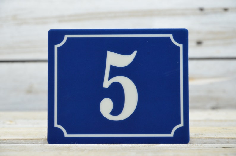 Street Sign Number 5 Vintage French Blue House Number Door Number 5 Self-adhesive Number Plate 5 Self-adhesive Foil with Number