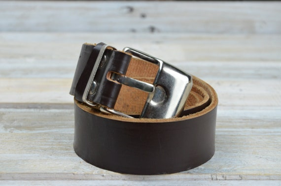 Leather belt - Brown leather belt - Brown Belt - V