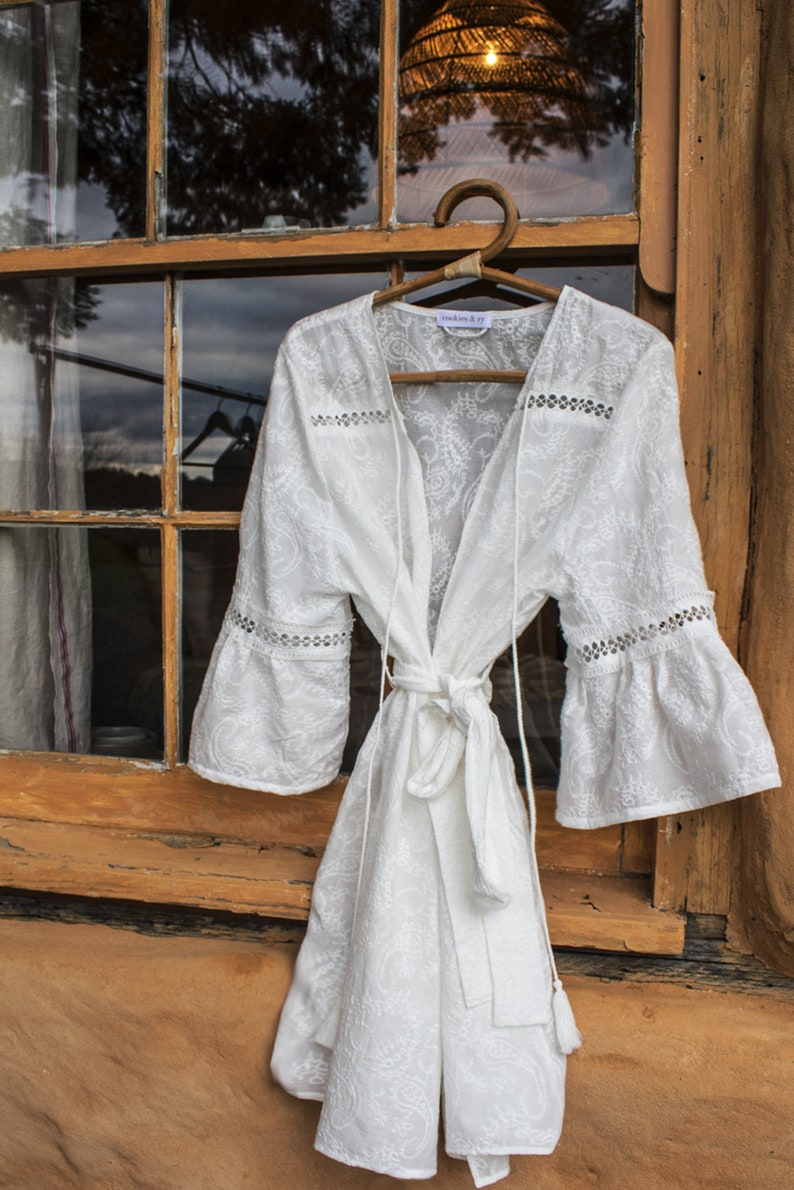 Florence Embroidered Robe Maternity Robe Bridal Dressing Gown Wedding Morning Bohemian Wedding Maternity Shoot Wedding Robe