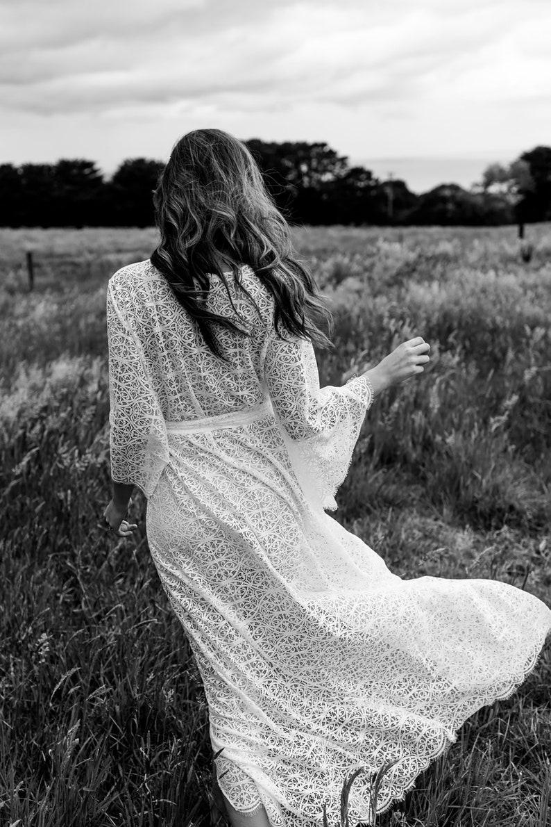Bridal Shower Dress Lola Wrap Dress SHORT Boho Dress Elopement Dress Lace Wrap Dress Boho Wedding Wedding Dress