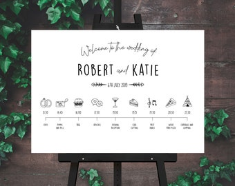 Black and White Barn Wedding Welcome and Order of the Day Sign A1