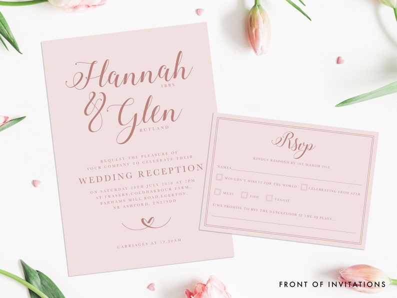 The Rosey  Wedding Invitation A5 with A6 RSVP image 0