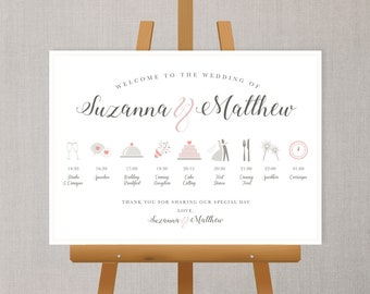 Illustrated Wedding Order Of The Day / Welcome Sign A1/A2