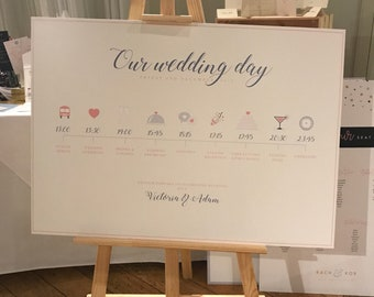 Illustrated Wedding Order Of The Day A1/A2 Mounted Plan