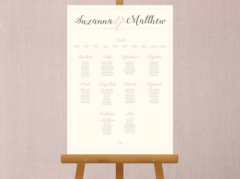 The Blush  Cream & Pink Table Plan A1/A2 image 0