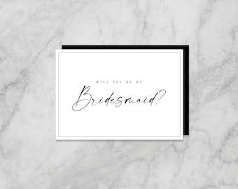 Black and White -  Will you be my Bridesmaid / Maid of Honour A6 Landscape Greeting Cards with Envelopes