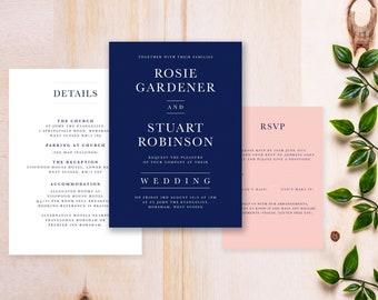 Classic Navy and Blush Wedding Invitations